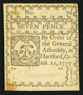 Colonial Notes:Connecticut, Connecticut October 11, 1777 7d White Paper Uncancelled VeryFine-Extremely Fine.. ...