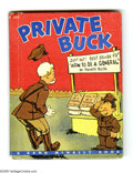 "Books, Clyde Lewis -- ""Private Buck"" (Rand McNally, 1942). Pint-sized(like it's protagonist), 4 1/2"" x 5 1/2"" hardbound collection..."