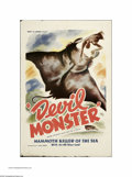 "Movie Posters:Adventure, Devil Monster (Louis Weiss, 1946). One Sheet (27"" X 41""). This is avintage, theater-used poster for this adventure/ drama d..."