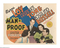 "Man-Proof (MGM, 1938). Title Lobby Card (11"" X 14""). Mimi (Myrna Loy) is crazy about Alan (Walter Pidgeon) and..."