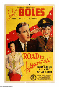 """Road to Happiness (Monogram, 1941). One Sheet (27"""" X 41""""). A recently divorced man tries to make life as pleas..."""