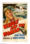 """Movie Posters:Drama, Wings and the Woman (RKO, 1942). One Sheet (27"""" X 41""""). Anna Neagle stars in this British film about aviator Amy Johnson who..."""