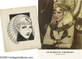 "Movie/TV Memorabilia:Photos, Claudette Colbert ""Cleopatra"" Sketch and Photograph. Long beforeElizabeth Taylor's ill-fated 1963 turn as the Queen of Egyp... (2Items)"