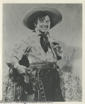 """Movie/TV Memorabilia:Photos Signed, Leo Carrillo Signed Photo. An 8"""" x 10"""" black-and-white photo ofCarrillo as the Cisco Kid's sidekick, Pancho, signed by the ... (1)"""