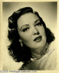 "Movie/TV Memorabilia:Photos Signed, Linda Darnell Signed Photo. A black-and-white 8"" x 10"" photo signedby the popular actress of the 1940s. In excellent condit..."