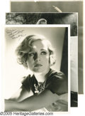 "Movie/TV Memorabilia:Photos Signed, Vintage Hollywood Photo Group. This lot of three vintageblack-and-white pics features a signed 10"" x 13"" photo of MadgeEva... (3 )"