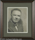 "Hollywood Memorabilia:Autographs and Signed Items, W. C. Fields Signed Photograph. A vintage, matte-finish 8"" x 10""photo of Fields handsomely dressed in a jacket and bow tie,..."