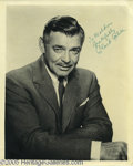 "Hollywood Memorabilia:Autographs and Signed Items, Clark Gable Signed Photograph. A vintage signed photo by the ""ItHappened One Night,"" ""Mutiny on the Bounty,"" and ""Gone With..."
