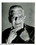 "Movie/TV Memorabilia:Photos Signed, Boris Karloff Signed Photograph. A cheerfully macabre signed headshot from ""Frankenstein 1970"" of the horror icon who starre..."