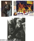 "Movie/TV Memorabilia:Photos Signed, Science Fiction and Horror-Themed Autograph Group. Included is asigned 11"" x 14"" black-and-white photo of Martin Landau as ... (3 )"