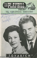 "Movie/TV Memorabilia:Photos Signed, Vivien Leigh and Jean Pierre Aumont Signed Playbill. For a February12, 1963 performance of ""Tovarich,"" signed by Leigh and ..."