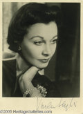 """Hollywood Memorabilia:Autographs and Signed Items, Vivien Leigh Signed Photograph. A 3"""" x 5"""" signed headshot of thelegendary actress who beat out thousands of others for the ..."""
