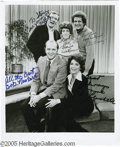"Movie/TV Memorabilia:Photos Signed, ""Bob Newhart Show: Signed Cast Photo. An 8"" x 10"" black-and-whitecast photo from the classic '70s sitcom, signed by Bob Ne..."