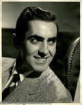 "Movie/TV Memorabilia:Photos Signed, Tyrone Power Signed Photo. A black-and-white 11"" x 14"" photo signedby the leading man of the '40s. In excellent condition w..."