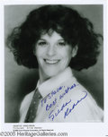 "Movie/TV Memorabilia:Photos Signed, Gilda Radner Signed Photo. A black-and-white 8"" x 10"" photo signedby late comedienne Gilda Radner in blue ink. In excellen..."