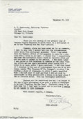 "Hollywood Memorabilia:Autographs and Signed Items, Fred Astaire Signed Letter (1961). Featured is a one page, typedand signed letter from actor-dancer Fred Astaire to ""Playbo..."