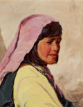 Fine Art - Painting, American:Modern  (1900 1949)  , Carl Oscar Borg (American, 1879-1947). Zuni Belle. Oil oncanvas. 20 x 16 inches (50.8 x 40.6 cm). Signed lower right: ...