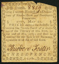 Colonial Notes:Rhode Island, Rhode Island May 22, 1777 $1/24 Very Fine.. ...