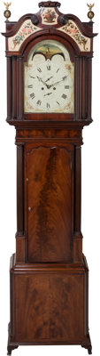 A George III Mahogany Moon-Phase Tall Case Clock by John Parr, circa 1820 Marks to clock face: Parr, Liverpool<...