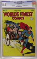 Golden Age (1938-1955):Superhero, World's Finest Comics #17 (DC, 1945) CGC VF+ 8.5 White pages. Here's the last issue of World's Finest to feature a cardb...