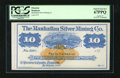 Obsoletes By State:Nevada, Austin, NV- Manhattan Silver Mining Co. $10 187_. This $10 bearer check remainder with wide margins has a bird's eye view vi...