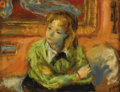 Fine Art - Painting, American:Contemporary   (1950 to present)  , ROBERT PHILIPP (American 1895-1981). Girl On A Couch. Oil onboard. 6-1/8 x 8 inches (15.6 x 20.3 cm). Signed lower righ...