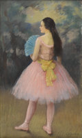 Fine Art - Painting, American:Modern  (1900 1949)  , LOUIS KRONBERG (American 1872-1965). The Blue Fan. Pastel onpaper. 20 x 12 inches (50.8 x 30.5 cm). Signed lower right...