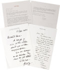 Movie/TV Memorabilia:Autographs and Signed Items, Letters to Ava Gardner from Various Actors. This set of three letters includes a two-page typed, signed letter on personal s...