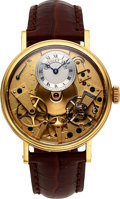 "Timepieces:Wristwatch, Breguet Ref. 7037 ""La Tradition"" Gold Semi-Skeletonized Automatic With Retrograde Seconds. ..."