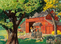 Walter Martin Baumhofer (American, 1904-1987) The Well Oil on board 14 x 24.5 in. Signed lower
