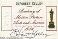 Memorabilia:Miscellaneous, DeForest Kelley Academy Membership Card. This lot features actor DeForest Kelley's Academy of Motion Picture Arts and Scienc...