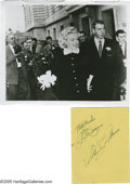 Movie/TV Memorabilia:Autographs and Signed Items, Marilyn Monroe and Joe DiMaggio Autographs. On January 14, 1954Marilyn Monroe and Joe DiMaggio were wed at San Francisco Ci... (1)
