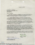 Movie/TV Memorabilia:Documents, Edward G. Robinson and Joshua Logan Signed Letter. One-page document, dated December 14, 1955, signed by Robinson in blue in...