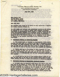 Lucille Ball Signed Radio Contract. This seven-page contract, signed July 12, 1948 between Lucille Ball and CBS, secures...