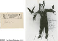 """Movie/TV Memorabilia:Autographs and Signed Items, Bert Lahr and Ray Bolger Autographs. Featured is a black-and-white photo of Ray Bolger as the Scarecrow in """"The Wizard of O... (2 )"""