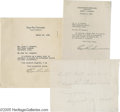 """Movie/TV Memorabilia:Autographs and Signed Items, Edgar Rice Burroughs Signed Items. A selection of three itemssigned by Burroughs. Included is a 7"""" x 5 1/2"""" piece of white ...(1 )"""