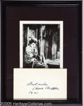 "Movie/TV Memorabilia:Autographs and Signed Items, Charlie Chaplin Autograph. A 3"" x 5"" index card inscribed ""BestWishes, Charlie Chaplin,"" framed and matted along with a bla..."