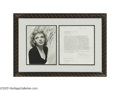 "Hollywood Memorabilia:Autographs and Signed Items, Judy Garland Signed Contract. Dated January 12, 1962, engaging Garland to appear in the movie ""The Lonely Stage"" (released i..."