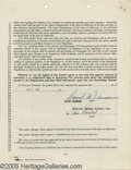 "Movie/TV Memorabilia:Documents Signed, David Janssen Signed Contract. Best known for playing the lead role on the classic television series ""The Fugitive"" (1963-67..."