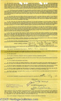 Movie/TV Memorabilia:Documents, Chico Marx Signed Contract. Standard William Morris agency contract, dated July 22, 1944 and signed by Chico on the back pag...