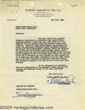 Movie/TV Memorabilia:Documents, Louis B. Mayer and Samuel Goldwyn Signed Agreement. A one-pageagreement on Samuel Goldwyn's business letterhead, dated July...