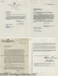 Movie/TV Memorabilia:Documents Signed, Hollywood Starlets Contract Lot. This lot of four signed WilliamMorris Agency documents includes a one-page, November 15, 1... (4Items)