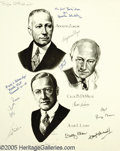 Movie/TV Memorabilia:Autographs and Signed Items, Paramount Movie Stars Signed Lithograph. This 1988 limited-editionlithograph, #90 of 126, bears the sketched likenesses of ...