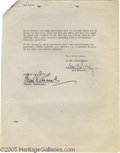 Movie/TV Memorabilia:Autographs and Signed Items, Basil Rathbone Signed Contract. A two-page contract dated January7, 1944 and signed by Rathbone on the last page. In very g...
