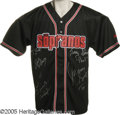 "Movie/TV Memorabilia:Autographs and Signed Items, ""Sopranos"" Cast-Signed Jersey. A black baseball-style sports jersey-- size large -- bearing the show's logo, signed by cast..."
