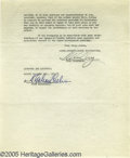 "Movie/TV Memorabilia:Documents, Irving Thalberg Signed Contract. Two-page agreement securing theservices of writer Frances Marion for the movie ""Cynara,"" d..."
