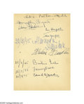 "Movie/TV Memorabilia:Autographs and Signed Items, Bogie, Bacall, Fanny Brice and Beatrice Lillie all signed this pagefrom Mabelle Webb's guest book. Humphrey Bogart wrote "" ..."