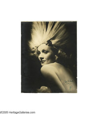 "Elegant Hurrell Portrait of Marlene Dietrich Signed humorously ""Don't look now! M"" in green ink. What a fabulo..."