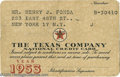 Movie/TV Memorabilia:Ephemera, Henry Fonda Texaco Credit Card. An unsigned vintage Texaco creditcard, issued to actor Henry Fonda for the year 1953. In ex...