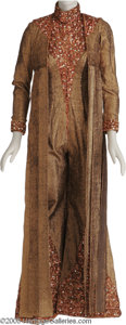 "Movie/TV Memorabilia:Costumes, Gay Blackstone ""Lightbulbs Through the Girl"" Costume.Copper-colored two piece costume consisting of heavy, metal-ribbedjum..."